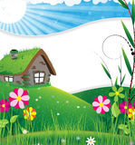 House in a meadow Royalty Free Stock Photography