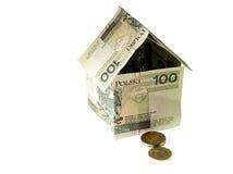 Small house of money. House of Polish money Stock Image