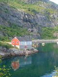 Small house in Moskenes, Lofoten islands Stock Photo