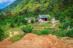 Small house on the mountain Stock Image