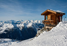 Small house in mountains Stock Photo