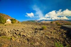 Small house near volcano Etna Stock Photo