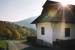 Small house in old Village, slovak mountains. VLKOLINEC, Slovakia-october 12 2018, traditional Slovak vilage in mountains stock image