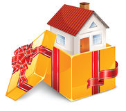 Small house in open box with bow stock illustration