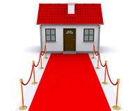 Small house with red carpet. Small house with red roof and red carpet stock illustration