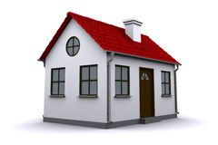 A small house with red roof. On a white background vector illustration