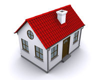 A small house with red roof. On a white background royalty free illustration