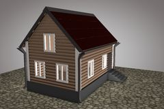 Small house with red roof Stock Photo