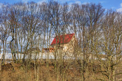 A small house with a red roof on a hill in the forest Stock Image