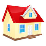 Small house with red roof. Isolated on a white. Background royalty free illustration
