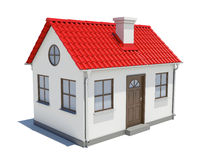 Small house with red roof. Isolated on white background vector illustration