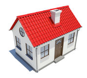 Small house with red roof Stock Images
