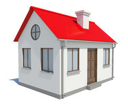 Small house with red roof on white background Royalty Free Stock Image