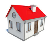 Small house with red roof on white background Royalty Free Stock Images