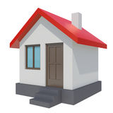 Small house with red roof on white background Stock Photo