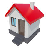 Small house with red roof on white background Stock Photos