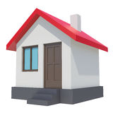 Small house with red roof on white background Royalty Free Stock Photos