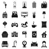 Small house for rest icons set, simple style Royalty Free Stock Images