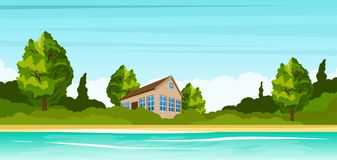 Small house on the river bank. Rural summer landscape Stock Photos