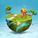 Small house,river  with trees on half of the globe. Stock Images