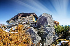Small  house on a in the rock / mountains Royalty Free Stock Photos