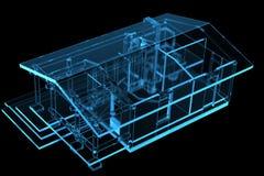 Small House, Sauna (3D xray blue). Small House, Sauna (3D xray blue transparent Royalty Free Stock Photography