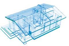 Small House, Sauna (3D xray blue). Small House, Sauna (3D xray blue transparent Stock Photo