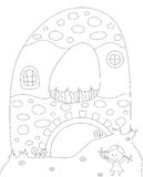 A small house in the shape of letter A. Coloring book for kids a Stock Photo