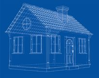 A small house with shingles roof. Vector. Rendering of 3d. Wire-frame style. The layers of visible and invisible lines are separated Stock Photo