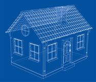 A small house with shingles roof. Vector. Rendering of 3d. Wire-frame style. The layers of visible and invisible lines are separated Stock Image