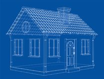 A small house with shingles roof. Vector. Rendering of 3d. Wire-frame style. The layers of visible and invisible lines are separated Royalty Free Stock Photo