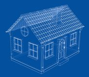A small house with shingles roof. Vector. Rendering of 3d. Wire-frame style. The layers of visible and invisible lines are separated Royalty Free Stock Photos