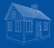 A small house with shingles roof. Vector. Rendering of 3d. Wire-frame style. The layers of visible and invisible lines are separated Stock Photos