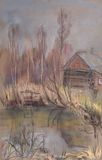 Small house on the shore of pond in forest Stock Photography