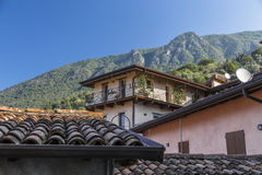 Small house with a slate roof in the mountains Royalty Free Stock Photo