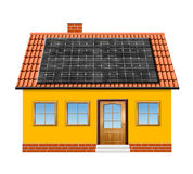 Small house with solar panel Royalty Free Stock Images