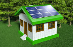 Small house with solar panels Stock Photo