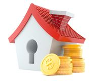 Small house with stack of coins Stock Images