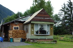 A small house at stewart, canada. Royalty Free Stock Photography