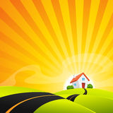 Small House In Summer Sunrise Landscape Royalty Free Stock Photography