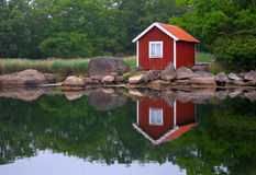Small house in Swedish Archipelago stock photo