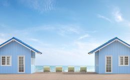 Small house terrace 3d render. There is a wooden balcony furnished with yellow daybad and  there have a sea background Stock Photo