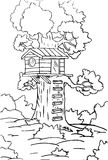 Small house in tree sketch Stock Photography