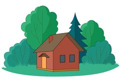 Small house with trees. House on forest glade with trees, , isolated Stock Photos