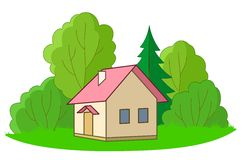 Small house with trees. House on forest glade with trees, , isolated Royalty Free Stock Images