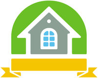 Small house vector logo. Vector color image isolated on white background Royalty Free Stock Photo