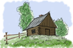 Small house in village Royalty Free Stock Image