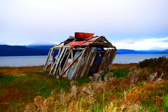 Small house whipped by the wind Royalty Free Stock Photo