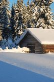 Small house in winter wood Royalty Free Stock Photo