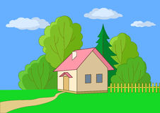 Small house on a wood edge. Summer landscape: toy small house on a wood edge Stock Image